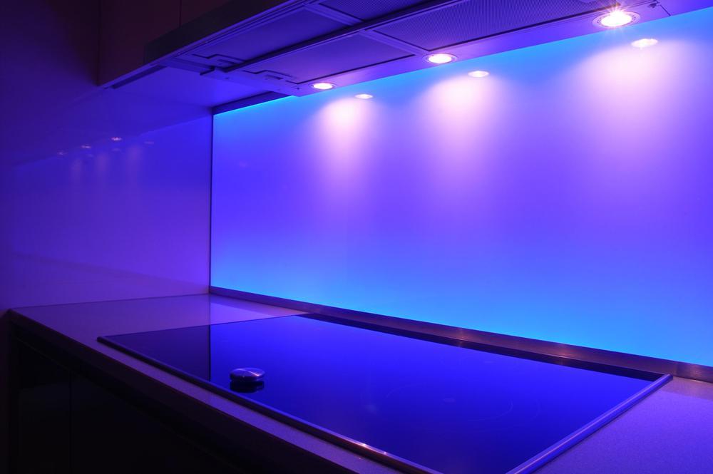 Blue splashback