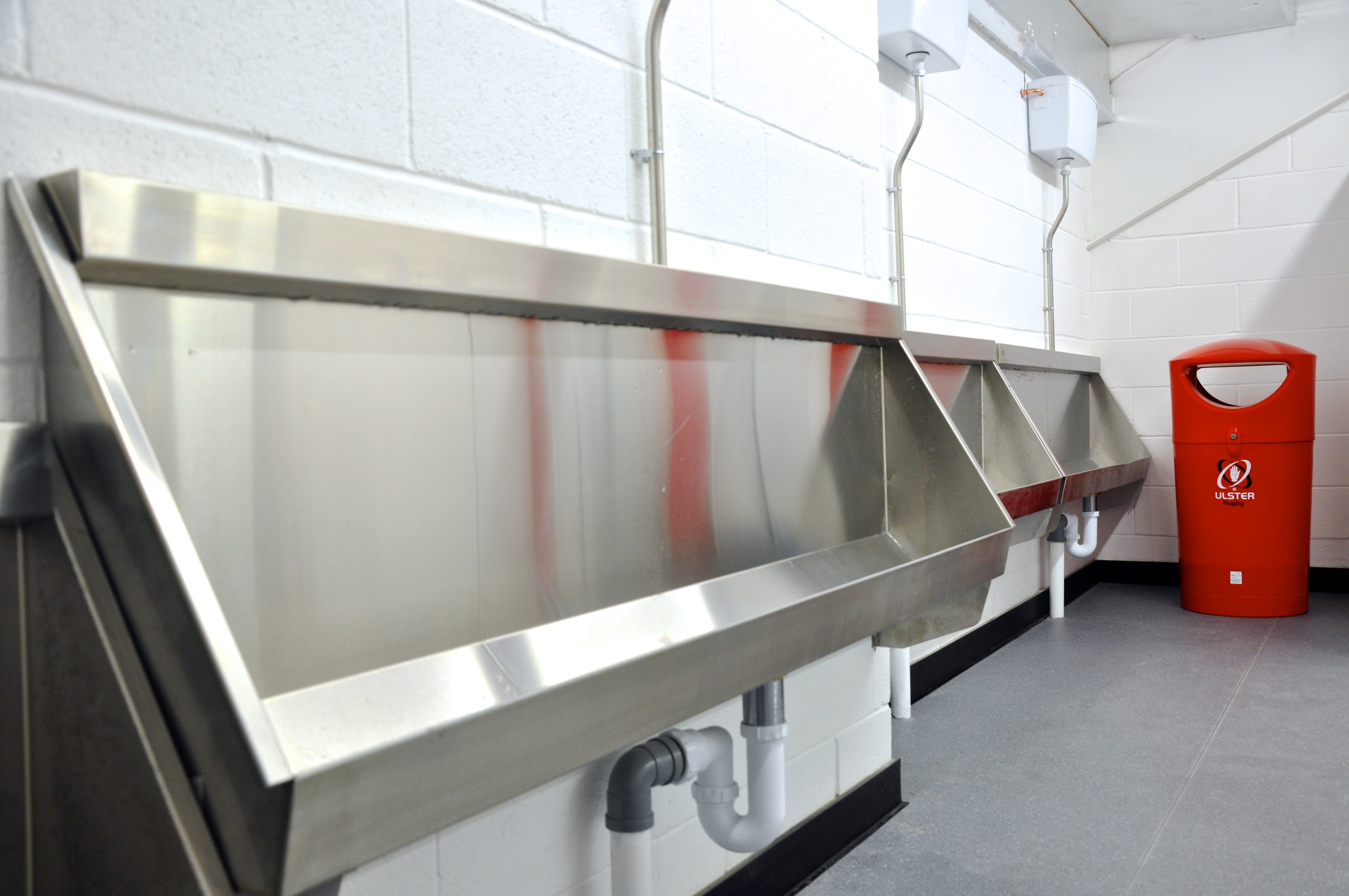 Stainless Steel urinal troughs and washtroughs were supplied to Ravenhill from Franke Washroom Systems
