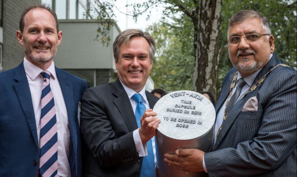 Mark Hoskins, Managing Director at Vent-Axia; Henry Smith MP; The Mayor of Crawley, Councillor Raj Sharma