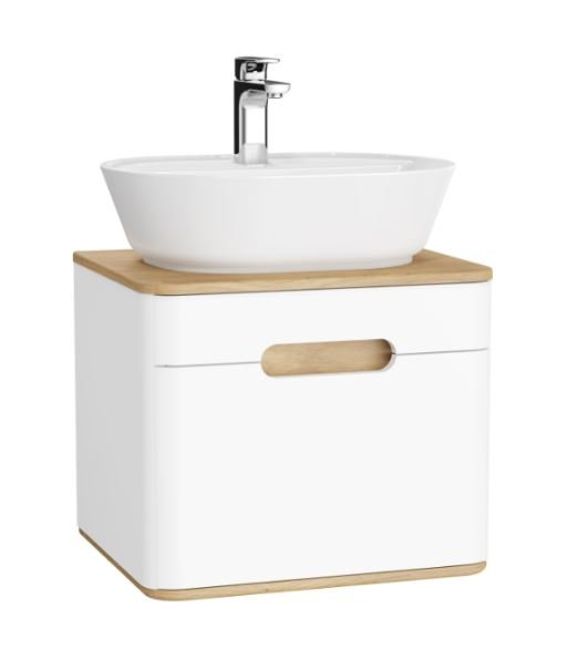 Sento 65cm countertop basin unit in matt white