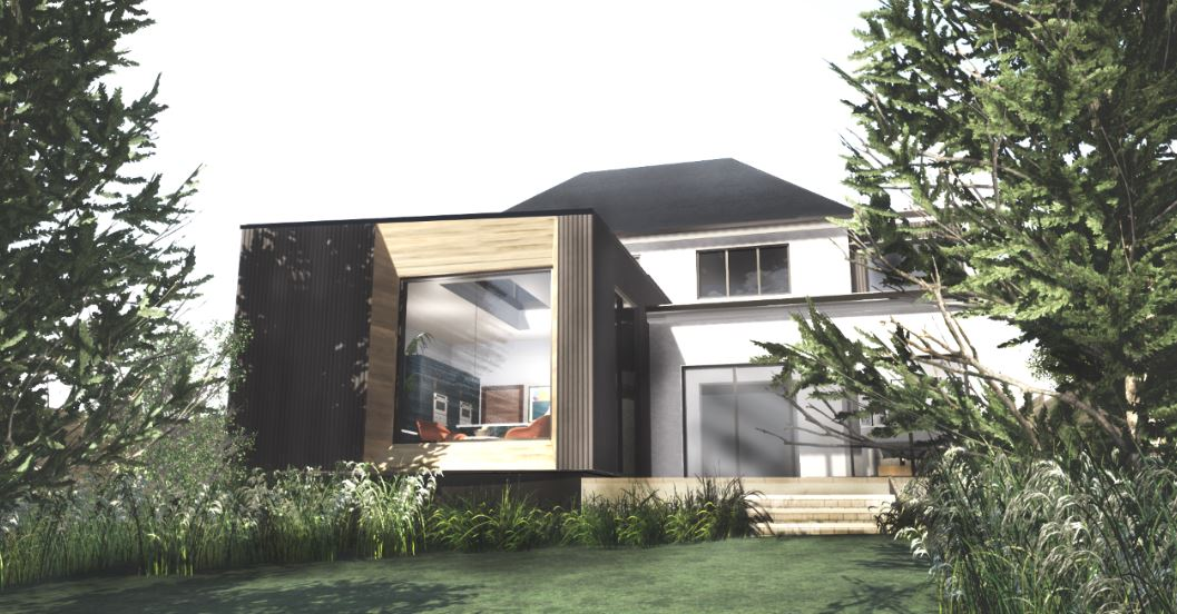 City Heights- a residential timber clad extension in Mapperley, Nottingham.