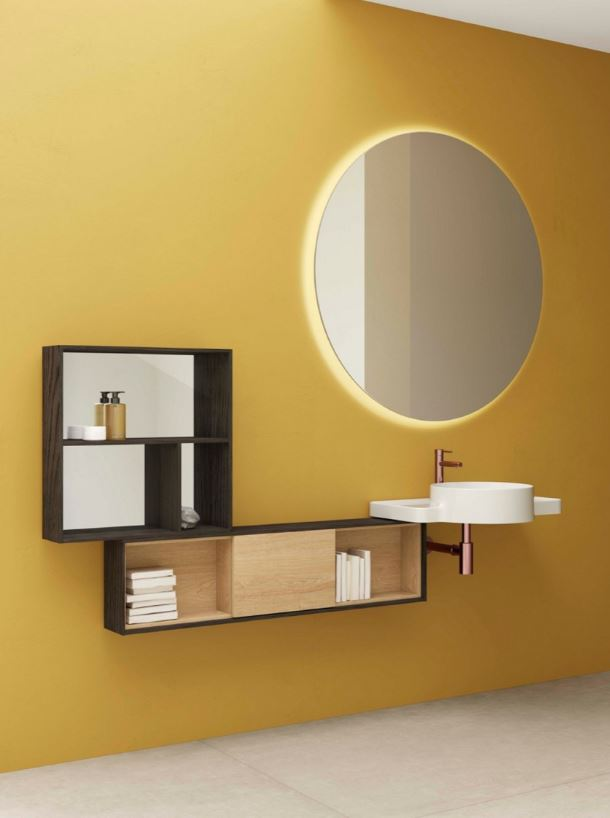 VitrA Voyage flamed grey wall box with mirror, flamed grey and natural oak unit, white washbasin with Origin basin mixer in copper