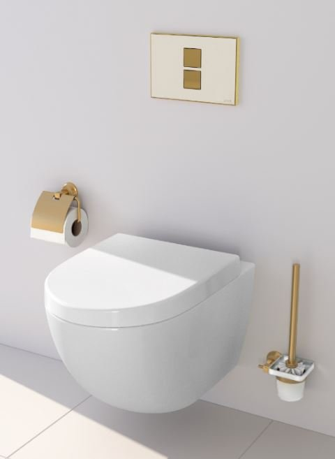 VitrA Sento wall-hung WC pan RRP £250 with Twin 2 flush plate in Gold RRP £86