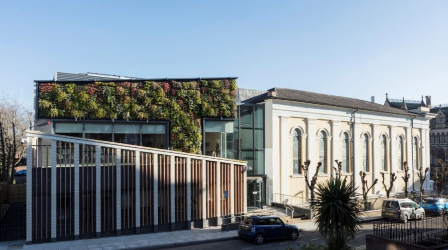 Living wall symphony of foliage at Nottingham Trent University Music Centre