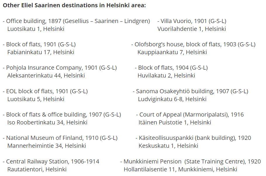 Eliel Saarinen destinations in Helsinki